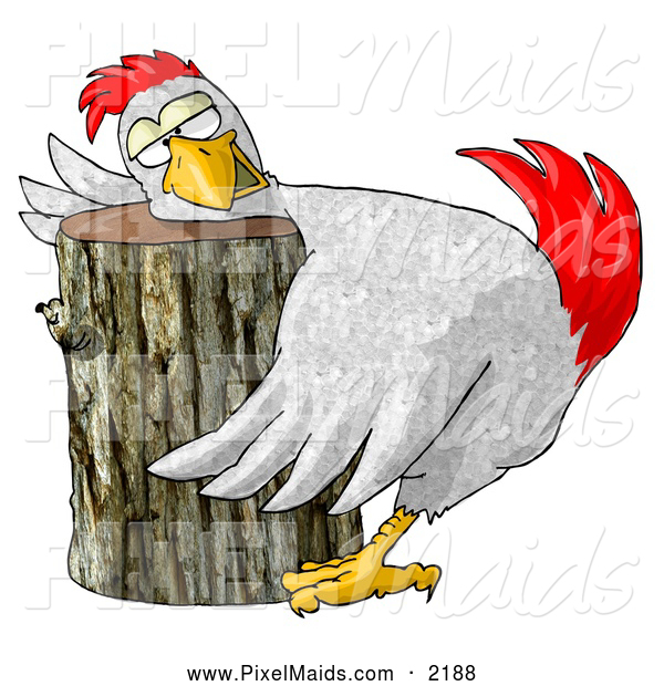 Clipart of a Oblivious Funny Chicken on a Chopping Block