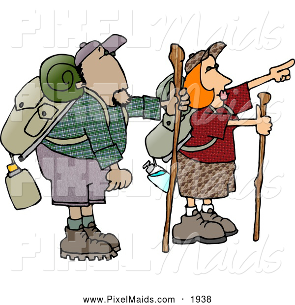 Clipart of a Pair of Hikers: a Male and Female Hikers Hiking with Backpacks, Canteens, Sleeping Bags, and Walking Sticks