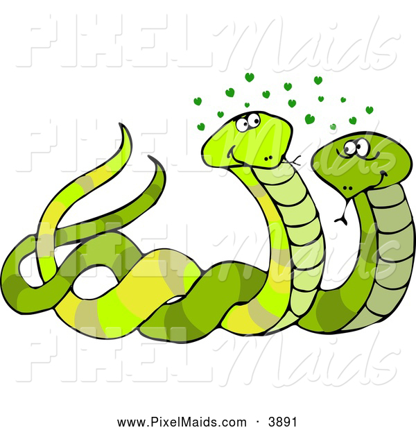 Clipart of a Pair of Male & Female Snakes Mating