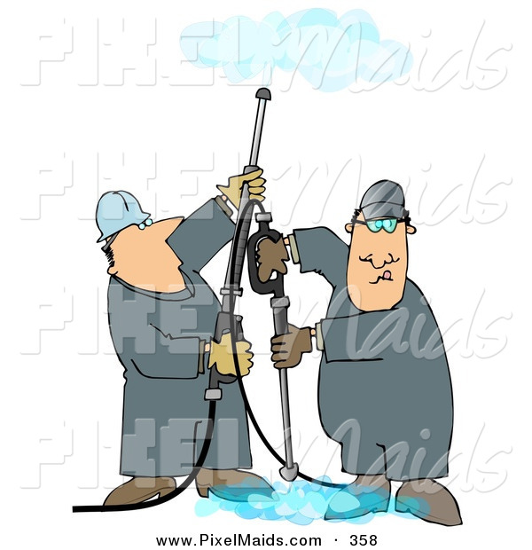 Clipart of a Pair of Men Using Pressure Washers to Clean Ceilings and Floors