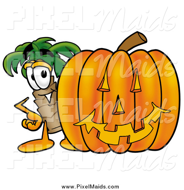 Clipart of a Palm Tree and Halloween Pumpkin