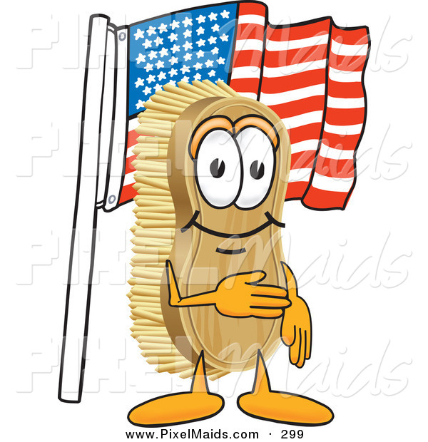 Clipart of a Patriotic Happy Scrub Brush Mascot Cartoon Character Pledging Allegiance to the American Flag