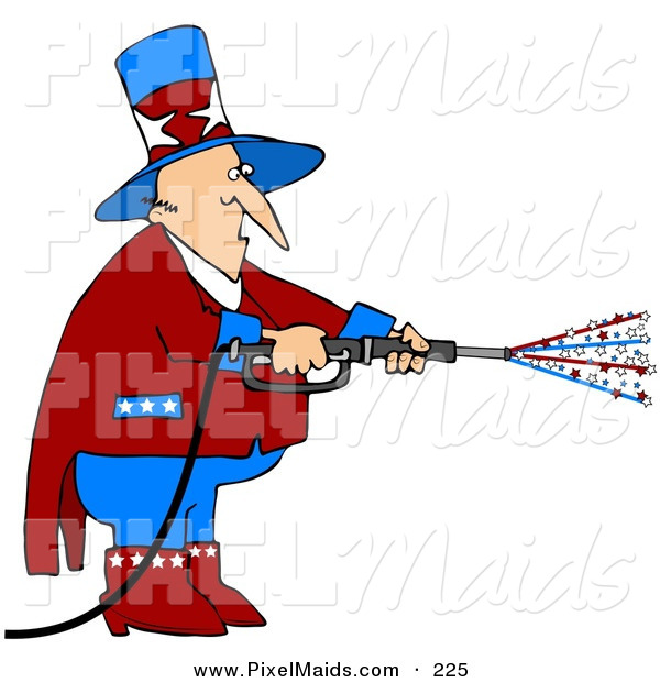 Clipart of a Patriotic Uncle Sam in Red, White and Blue, Using a Power Washer and Spraying out Stars on Tax Day or the Fourth of July