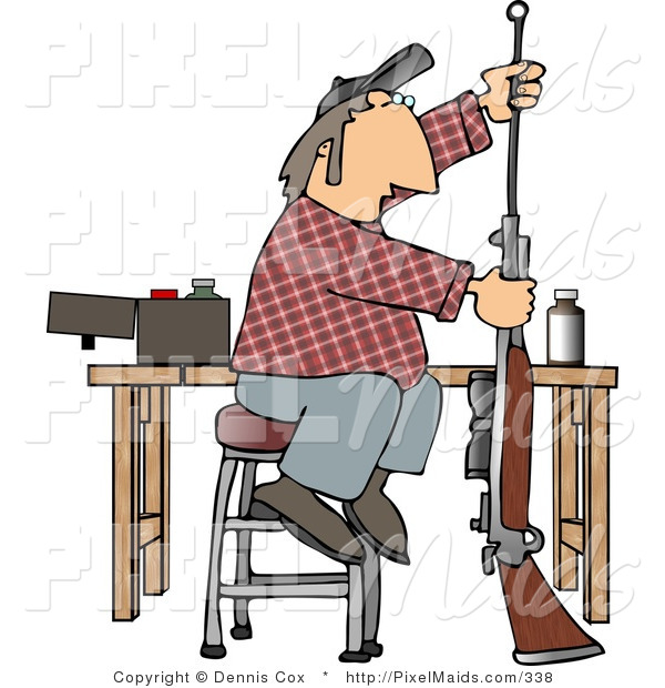 Clipart of a Person Cleaning Inside the Barrel of His Unloaded Rifle Gun