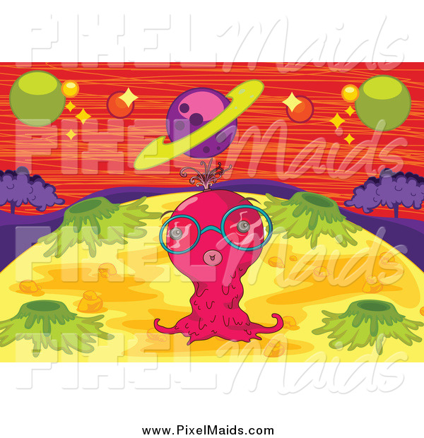 Clipart of a Pink Alien on a Foreign Planet