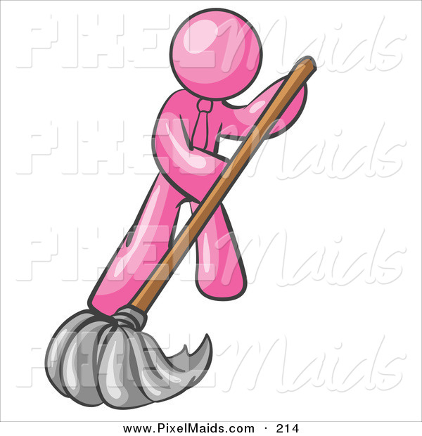 Clipart of a Pink Businessman Wearing a Tie, Using a Mop While Mopping a Hard Floor to Clean up a Mess or Spill