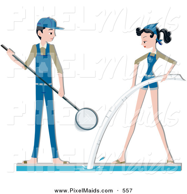 Pool Cleaning Clip Art : Clipart of a pool maintenance couple cleaning on white by