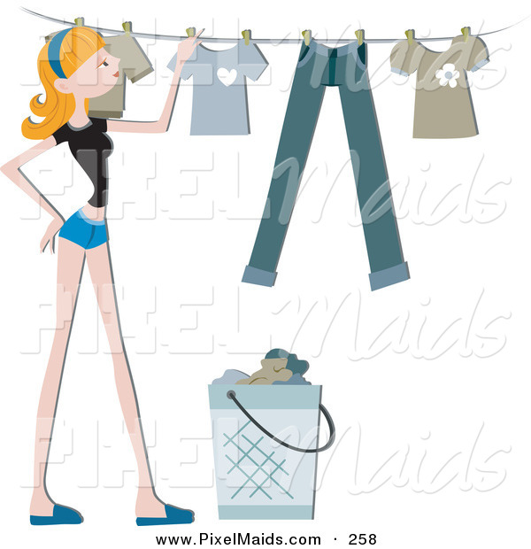 Clipart of a Pretty Blond Home Maker Hanging Laundry up on a Line