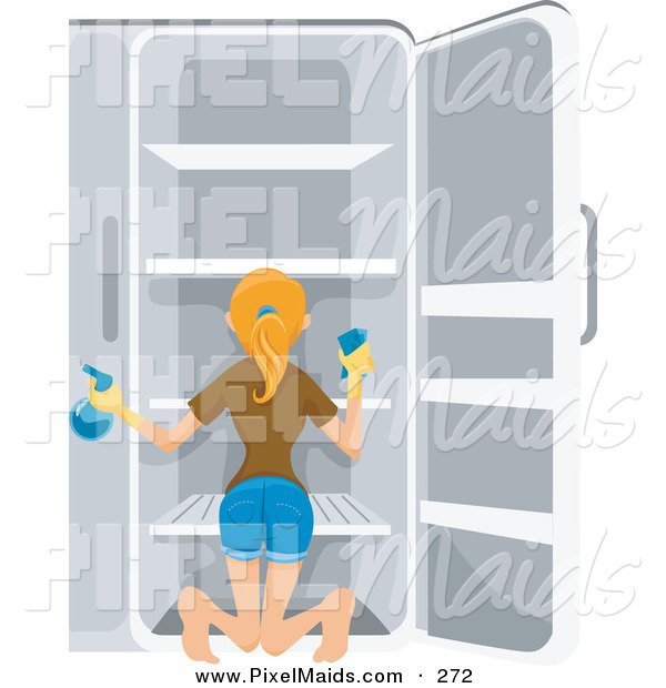 Clipart of a Pretty Blond Housewife Cleaning out Her Refrigerator