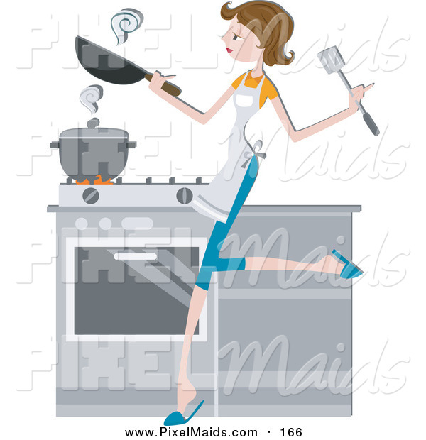 Clipart of a Pretty Brunette Home Maker Cooking in a Kitchen