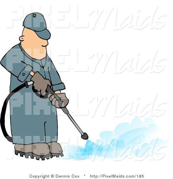Clipart of a Professional Pressure Washer Man Spraying the Ground with Water