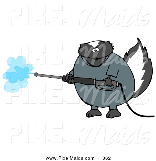Clipart of a Pudgy Skunk in Coveralls, Using a Pressure Washer