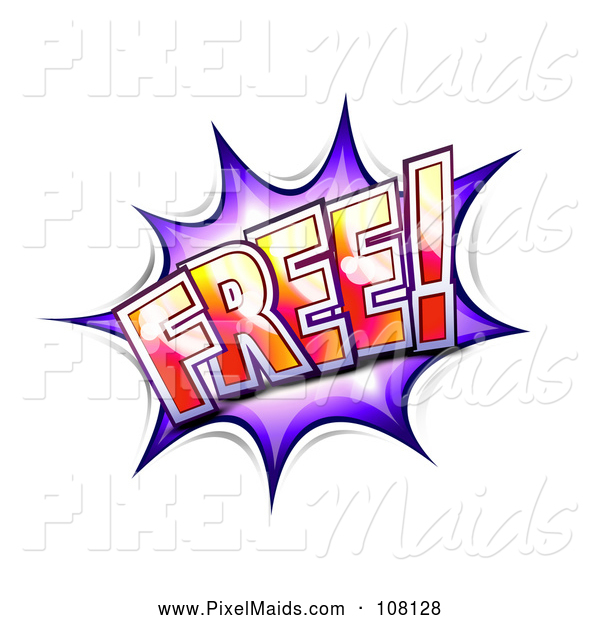 Clipart of a Purple FREE Comic Burst Balloon