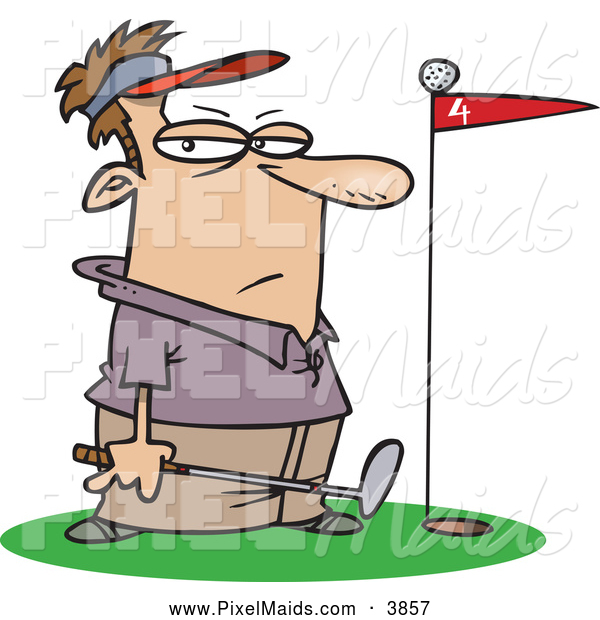 Clipart of a Red Flag in a Putter's Green, a Frustrated Golfer Standing Close by