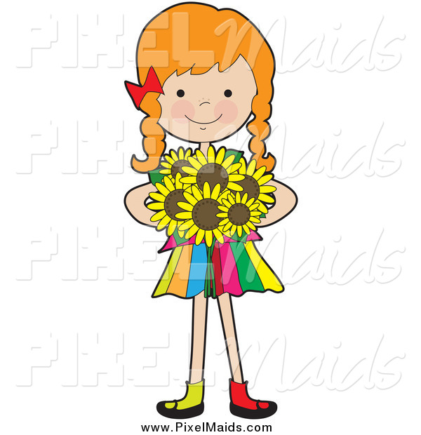 Clipart of a Red Haired Caucasian Girl Holding Sunflowers