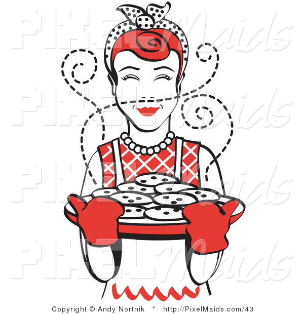 Clipart of a Red Haired Housewife or Cook Wearing an Apron and Oven Gloves, Smelling Fresh, Hot Chocolate Chip Cookies Right out of the Oven