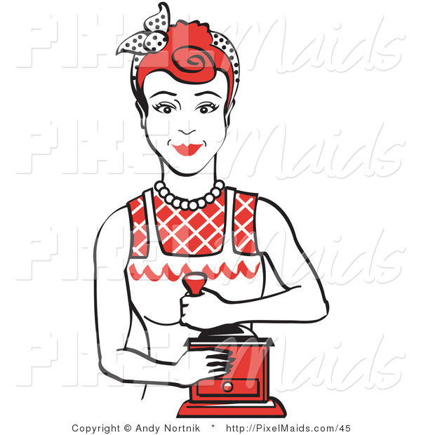 Clipart of a Red Haired Housewife or Maid Woman Facing Forward and Smiling While Using a Manual Coffee Grinder