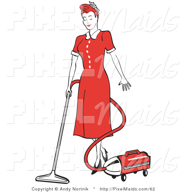 Clipart of a Red Haired Housewife or Maid Woman in a Long Red Dress and Black Heels, Using a Canister Vacuum to Clean the Floors