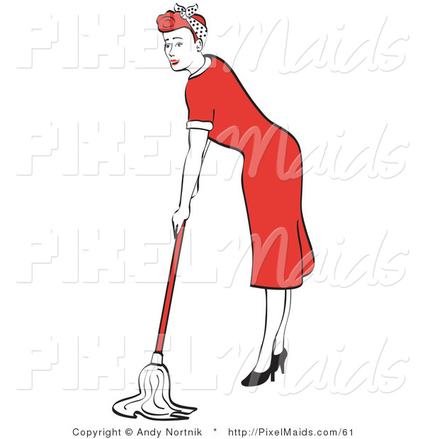 Clipart of a Red Haired Housewife or Maid Woman in a Long Red Dress and High Heels Mopping the Floors