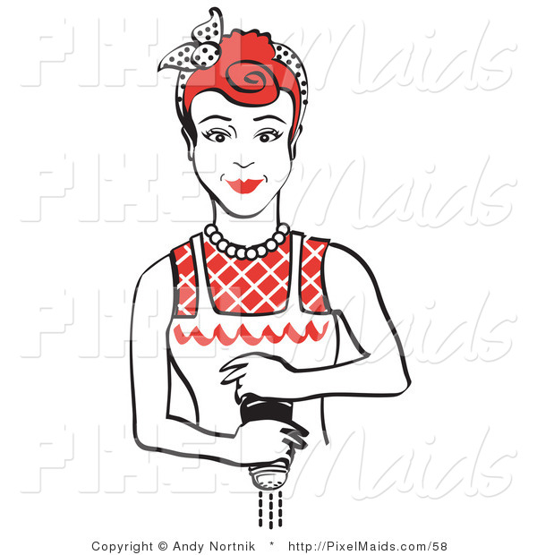 Clipart of a Red Haired Housewife or Maid Woman Using a Pepper Mill