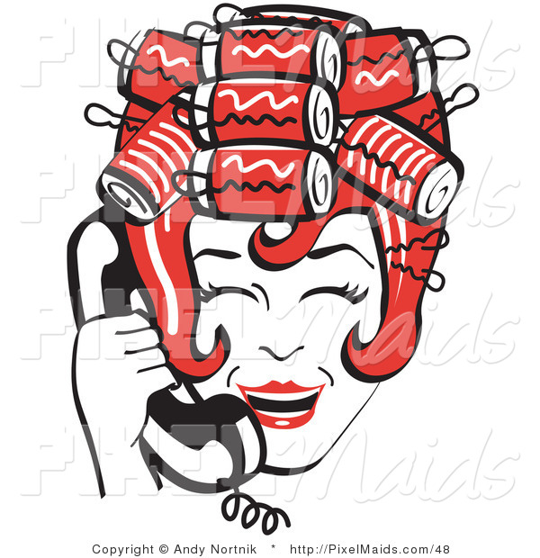 Clipart of a Red Haired Housewife with Her Hair up in Curlers, Laughing While Talking on a Black Landline Telephone
