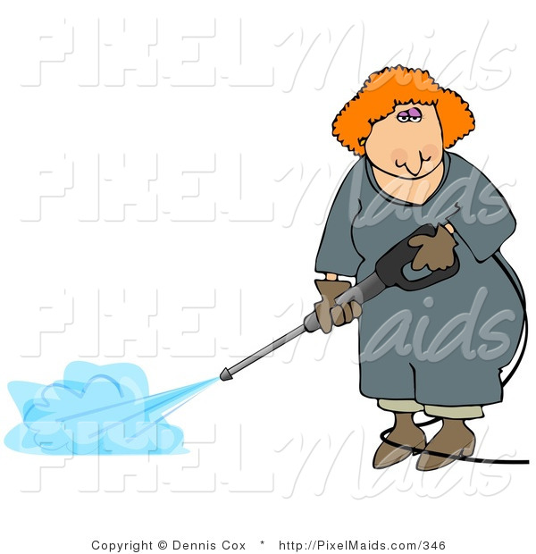 Clipart of a Red Headed Professional Woman Using a Pressure Washer
