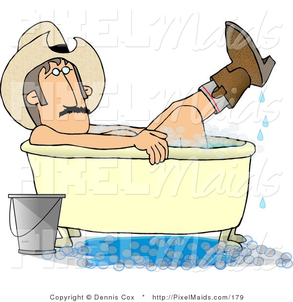 Clipart of a Redneck Cowboy Man Bathing with Hat and Boots on