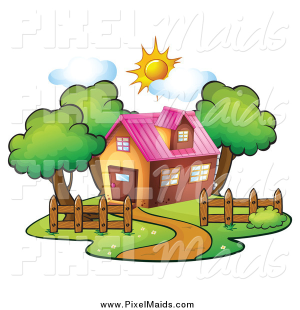 Clipart of a Residential House on a Sunny Day