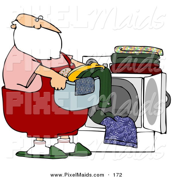 Clipart of a Santa Carrying a Basket of Laundry by a Dryer on White