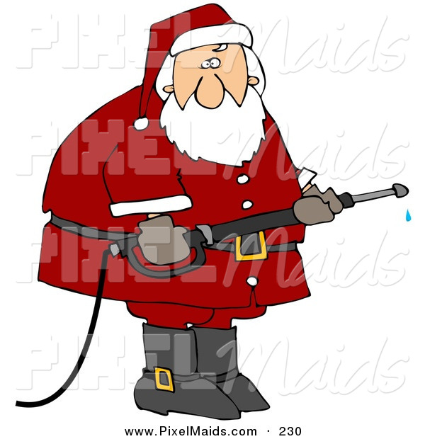 Clipart of a Santa Claus in His Red Suit, Operating a Power Washer Nozzle
