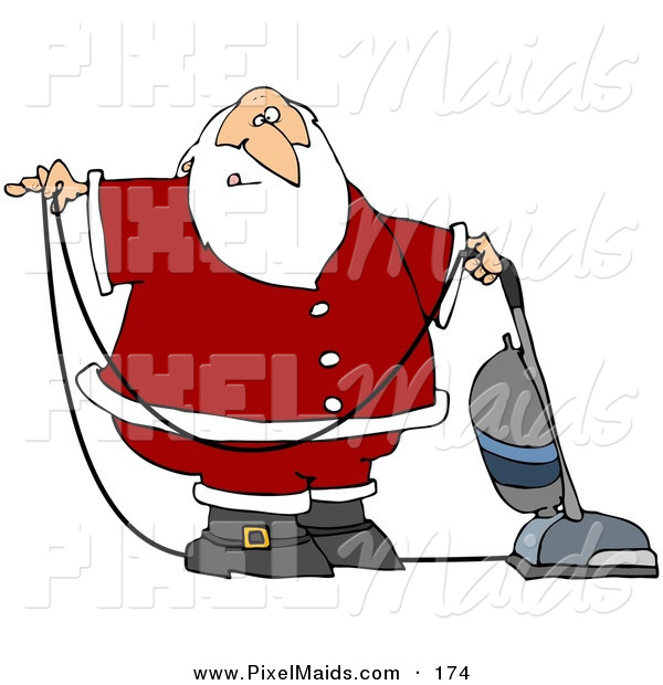 Clipart of a Santa Claus in Uniform, Vacuuming Carpet with a Vacuum