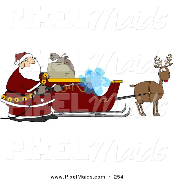 Clipart of a Santa Pressure Washing His Sleigh for Christmas Eve on White