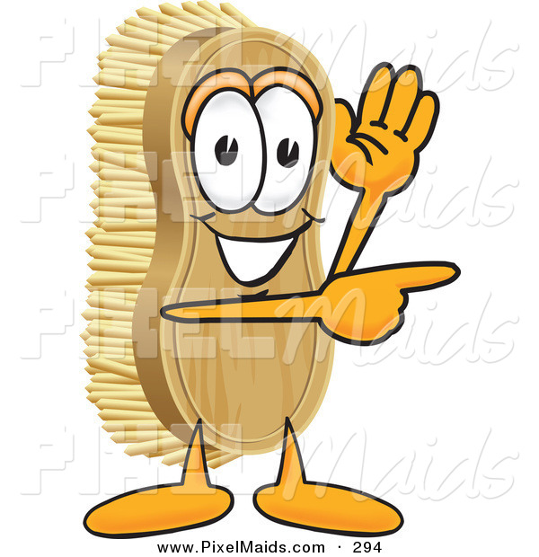 Clipart of a Scrubbing Brush Mascot Cartoon Character Waving and Pointing to the Right