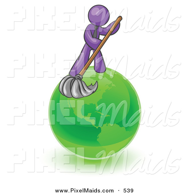 Clipart of a Shiny Purple Man Using a Wet Mop with Green Cleaning Products to Clean up the Environment of Planet Earth