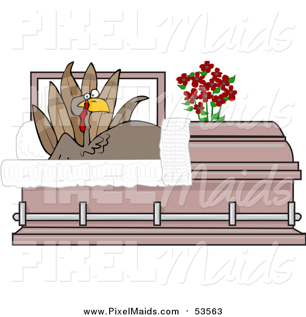 Clipart of a Shocked Turkey Bird Rising in a Casket