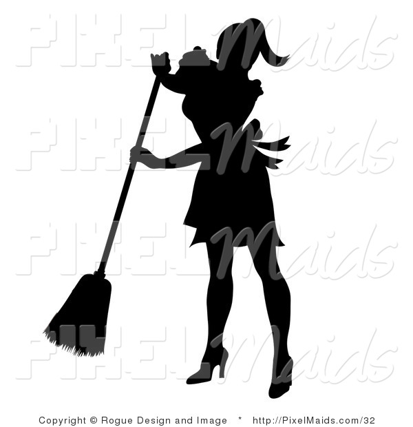 Clipart of a Silhouetted Maid Sweeping