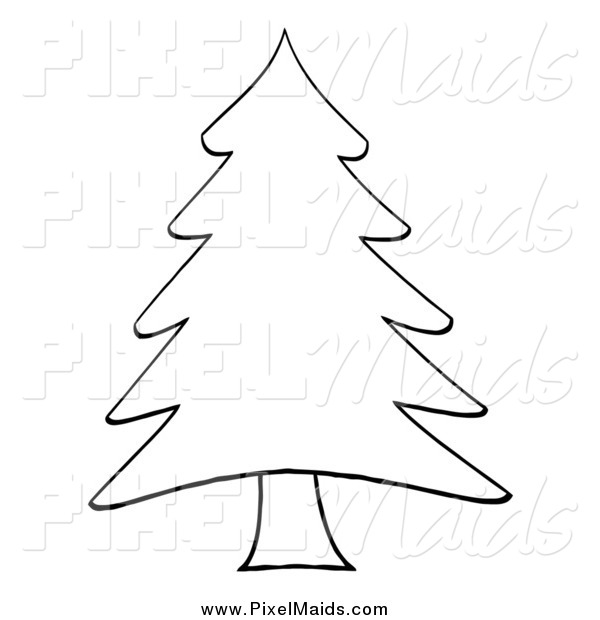 Clipart of a Sketched Outlined Pine Tree