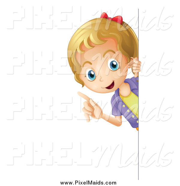 Clipart of a Smart Blond Girl Peeking Around a Sign