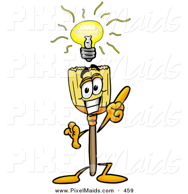 Clipart of a smart broom mascot cartoon character with a bright