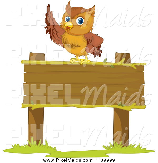 Clipart of a Smart Owl Pointing on a Sign