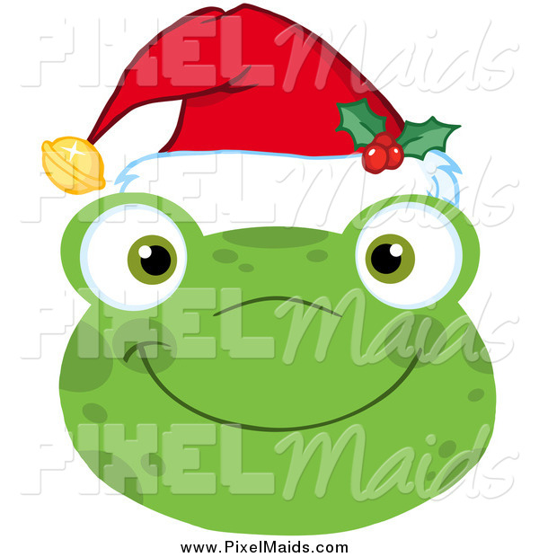 Clipart of a Smiling Happy Christmas Frog Face