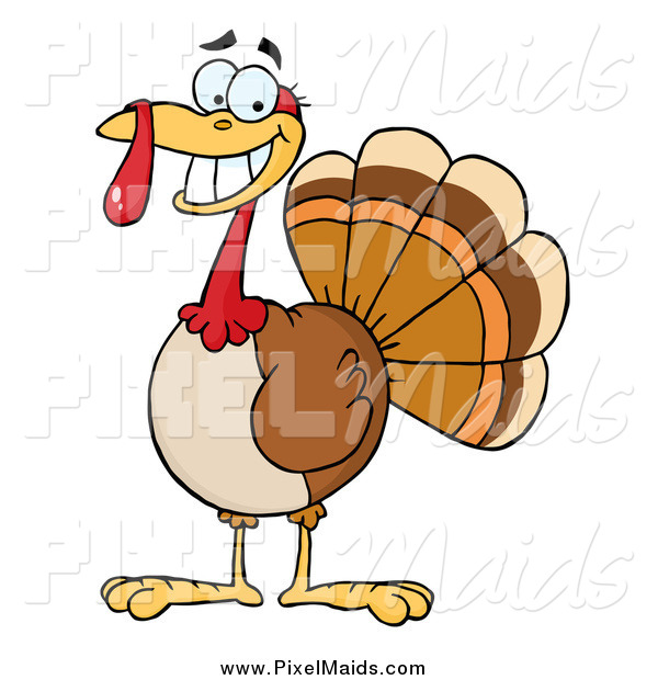 Clipart of a Smiling Thanksgiving Turkey Bird