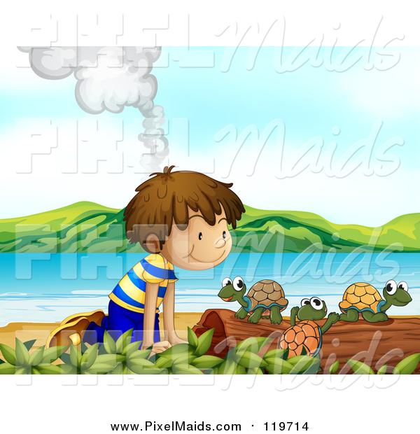 Clipart of a Smoking Volcano Behind a White Boy Watching Turtles on a Beach