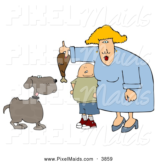 Clipart of a Son Watching Mom Feed Pet Dog a Large Turkey Leg