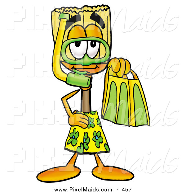 Clipart of a Sporty Broom Mascot Cartoon Character in Green and Yellow Snorkel Gear
