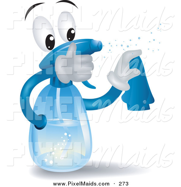 Clipart of a Spray Bottle Character Squirting and Wiping by BNP Design ...