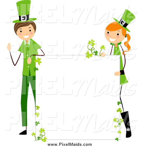 Clipart of a St Patricks Day Stick Boy and Girl with a Blank Board Sign