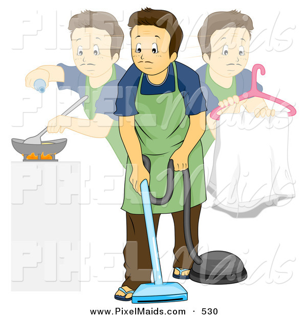 Clipart of a Stay at Home Dad Doing Multiple Chores During the Day