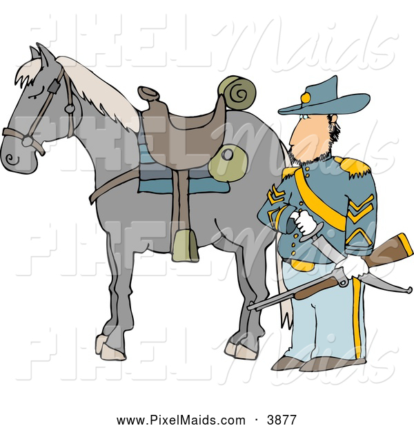 Clipart of a Stern Armed Union Soldier Standing Beside His Horse on a Battlefield