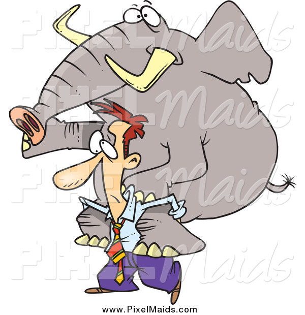 Clipart of a Struggling Businessman Giving an Elephant a Piggy Back Ride
